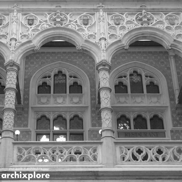 Handelsbeurs Antwerpen ontworpen door architect Joseph Schadde - detail galerij verdieping